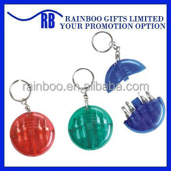 Hot selling logo printed Novelty round shape promotionalmini pocket tool kit with keychain