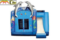 CILE 2015 Sea World Design Inflatable Castle Bouncer with Water Slide for Kiddie