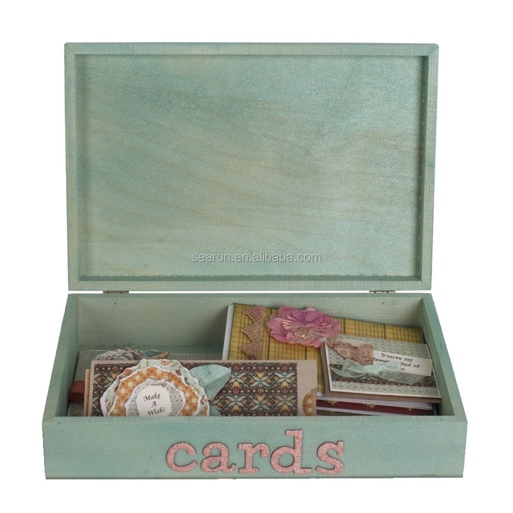 Wooden gift box wooden cards box wooden storage box