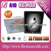 Best Christmas gift! 2012 best sale of allwinner A10 9.7 android tablet 3G build in