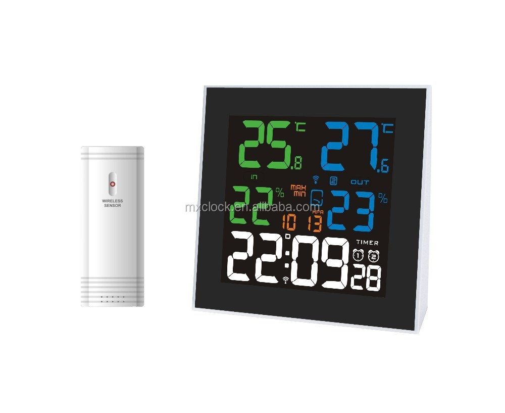 YD8220A Clock in Wooden Table with Weather Station for Selling