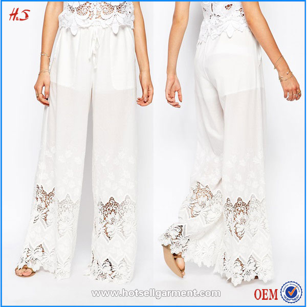 2016 New style wholesale top selling women white cotton palazzo pants with lace detail