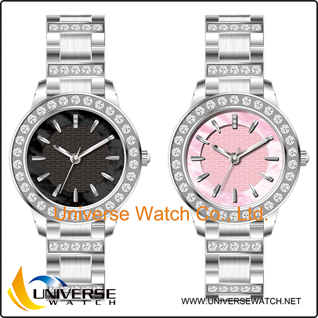 2016 the newest design diamond luxury ladies wristwatch with customized your brand