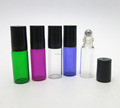 Four colors beauty refillable 5ml roll on bottle glass for essential oils