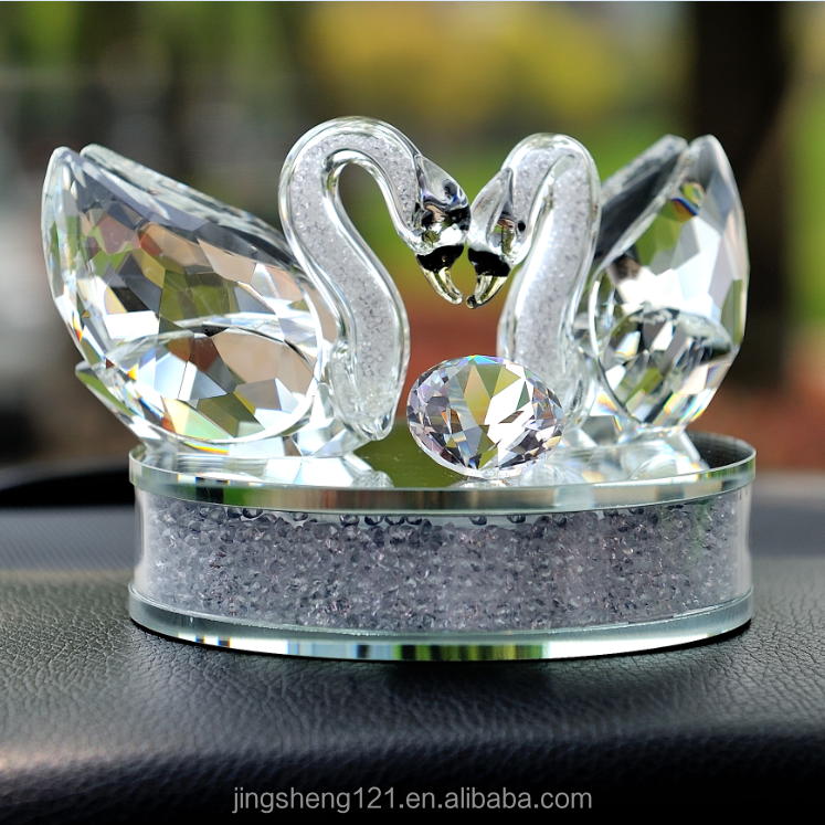 Clear and champagne two kissing swans empty perfume diffuser bottle car