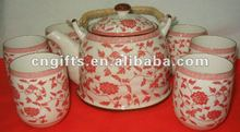 porcelain tea set with 1 pcs teapot and 6 pcs cups