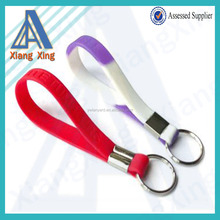 Keychain strap custom print silicone short rubber lanyard with keyring