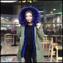 2016 women fashion military green shell fake fur lining fauk fur hood parka fur raccoon jacket