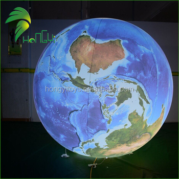 Cheap Customize Logo Printing LED Inflatable Globe Earth Balloon For Advertising