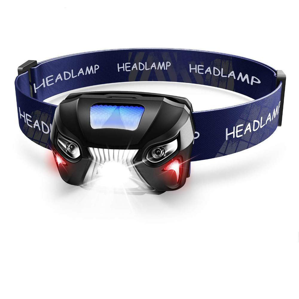 Ultra Bright LED Headlamp Flashlight with Redlight and Motion Sensor Switch, Great For Running, Camping, Hiking, Lightweight