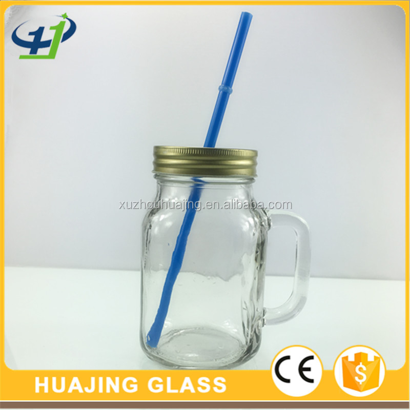 600ml 20oz empty glass mason jar drinking glass cup with handle and straw