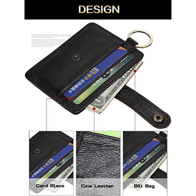 Rfid Blocking Genuine Leather Card Holder Wallet With Portable Keyring For Thanks-Giving or Christmas Gift