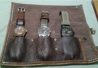 Retro Canvas Travel Watch Pouch With Genuine Leather