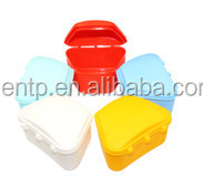 Colored plastic false teeth container/dental orthodontic retainer case/denture storage box for dentures
