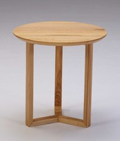 Concise design ash wood round end table with window shape polished stainless steel or wood bottom