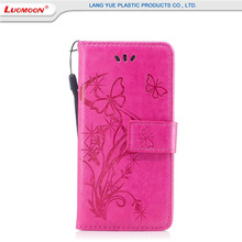 Bright color pu flip handbag mobile phone cover for iphone 6/7/6s plus 5s/se case with butterfly pattern tpu leather phone shell