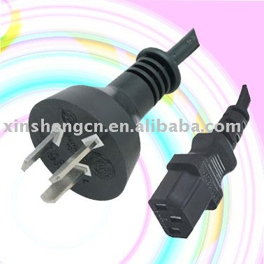Argentina male power cord plug with IEC C13 end for TV