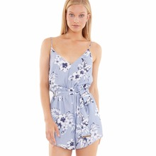 OEM 100%Polyester Floral Print Jumpsuit Summer Adult Mature Lady Sexy Women Playsuits
