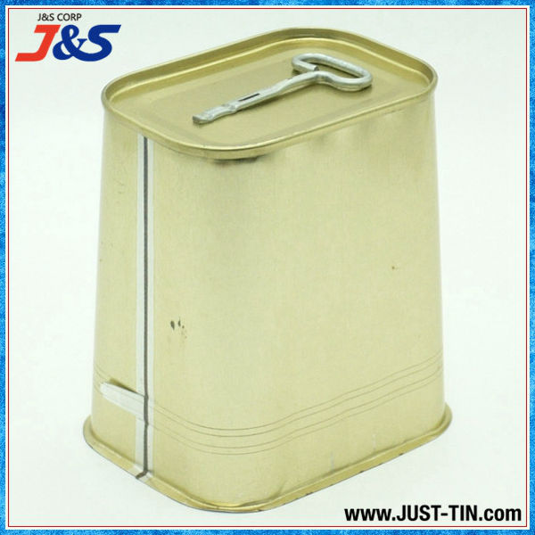 rectangular coned beef tin can with key