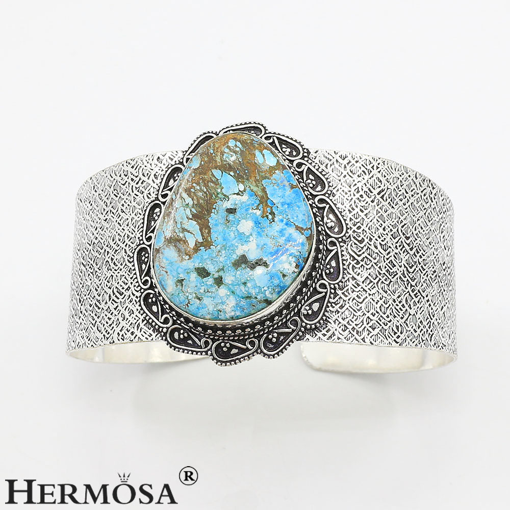 Free Shipping Marvelous Real Blue Turquoise Jewelry Handcraft 925 Sterling Silver Wide Bangle CUFF