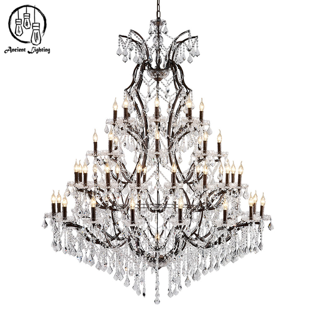 E14 E12 Large 4-Tier Antique Rust Iron K9 Clear Crystal Christmas Tree Chandelier
