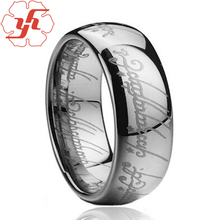 6MM / 8MM silver Tungsten Carbide Laser Lord of the Ring Men's Ring