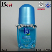 fancy design body care blue red cap clear big glass roller fragrance oil bottle 25ml
