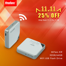 KingSpec MiFee AW 32GB 64GB USB Memory Card Reader WiFi, Wireless Storage Box Expansion Flash Drive for IOS and Android System