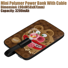 3200mAh Funny Bear Mini Polymer Power Bank with Cable for Mobile Phones Made in China