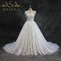 ASA027 Wholesale New Style Elegant Lace Sweetheart Chapel Train Shiny Flowing Sleeve Ball Gown Wedding Dress