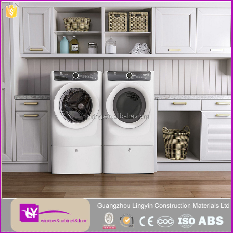 Moisture-proof wooden white laundry cabinet multi-function laundry room washing machine cabinet