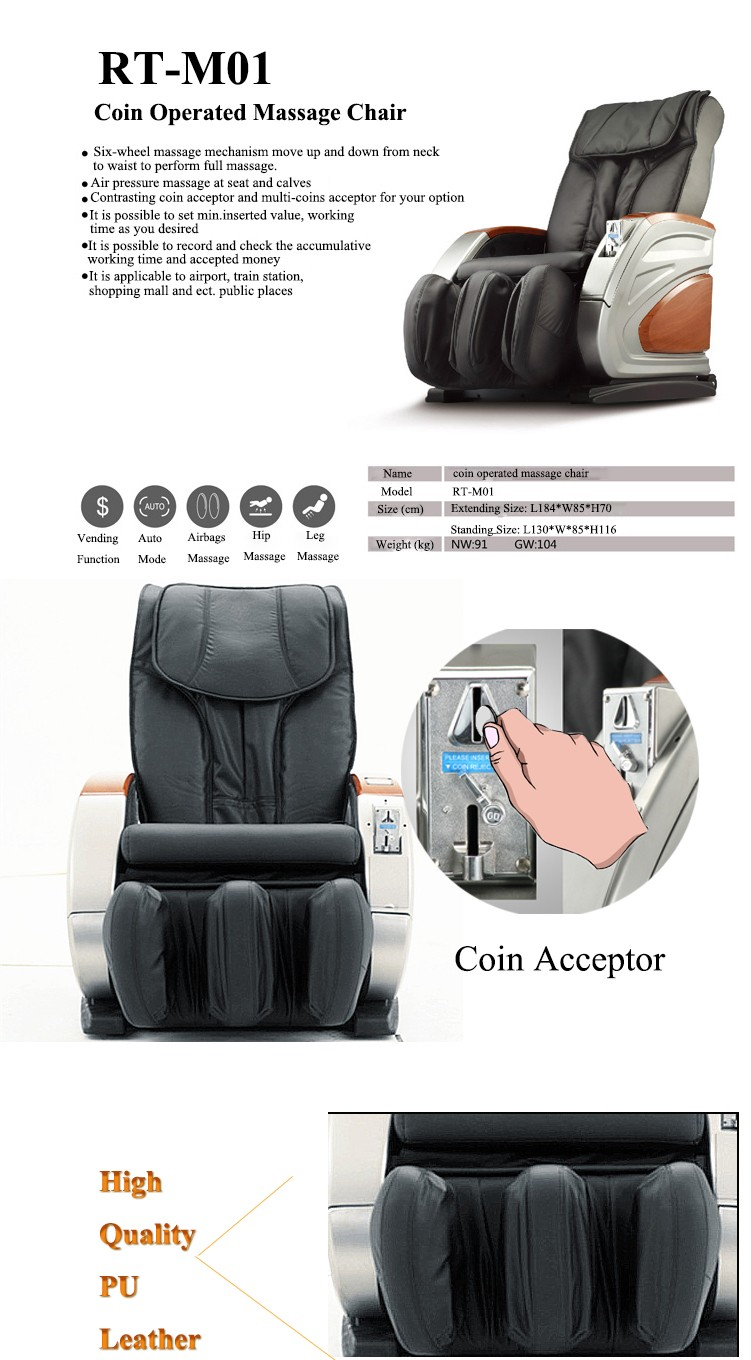 2016 High Quality Commercial Coin Operated Massage Chair Cheap RT-M01
