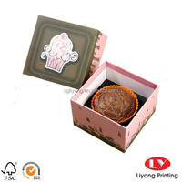 Custom printed food packaging cardboard gift box with lid for cupcake