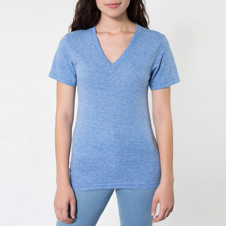 2016 new arrival USA cheap V-neck Tee shirts plain t shirts in bulk for women