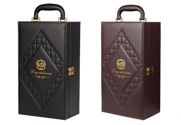 Black Leather Double Bottle Red Wine Box With Accessories Supplier
