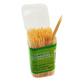 Mint flavored bamboo wooden dental floss skewers and bamboo toothpick
