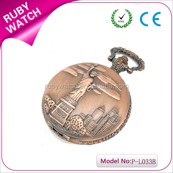 Statue of Liberty pocket watch red antique copper color with quartz movement