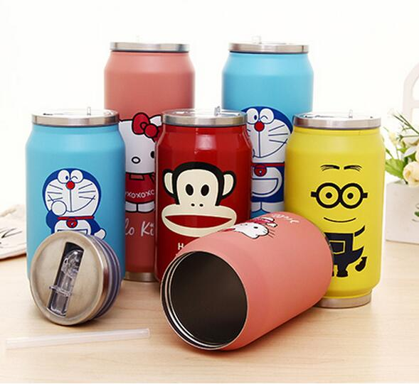 Top quality doraemon hello kitty Minions print bottle coca-cole style flask 304 stainless steel coffee mugs thermos vacuum cups