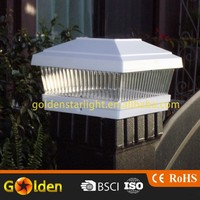 White 5 X 5 PVC Vinyl Outdoor Garden Solar Post Deck Cap Square Fence Lights