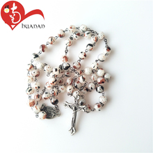 High Quality Natural Stone Bead Rosary Necklace With Crucifix Cross