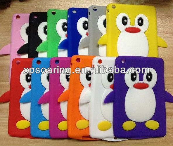 Smart penguin silicone case back cove for mini ipad