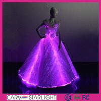 luminous led light glow in the dark long lace evening dress