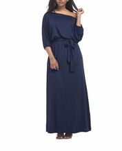 High Quality Fat Women Plus Size Boat Neck Maxi Dress