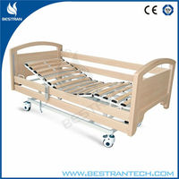 China BT-AE122 Hospital 3 function electric wooden home care bed, ultra low nursing bed for old people