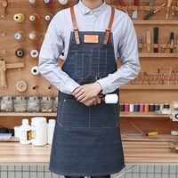 Durable Denim BBQ Bib Apron Adjustable Leather Straps Apron with Pocket