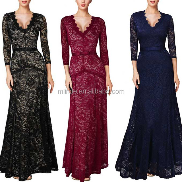 Deep V Neck Women Floral Lace 2/3 Sleeves Long Bridesmaid Maxi Dress For Wedding Party