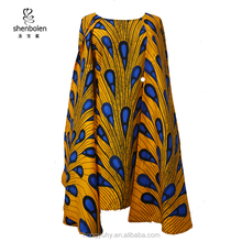 winter african dress wholesale wax printed cape dress for women