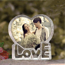High quality heart shaped love photo frame custom photo laser engraving 3d crystal photo frame