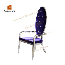 diamonds on the seat back with velvet fabric cover and stainless steel chairs
