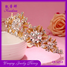 Golden Flower and Rhinestone Headpiece Wedding Bridal Tiara Crown Wholesale